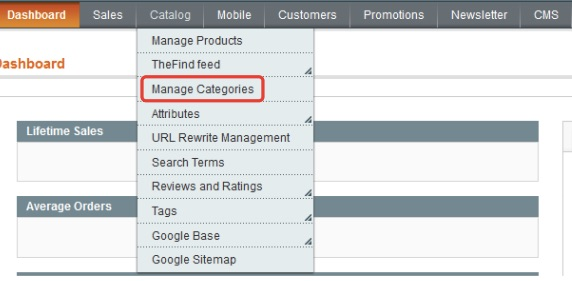access magento categories