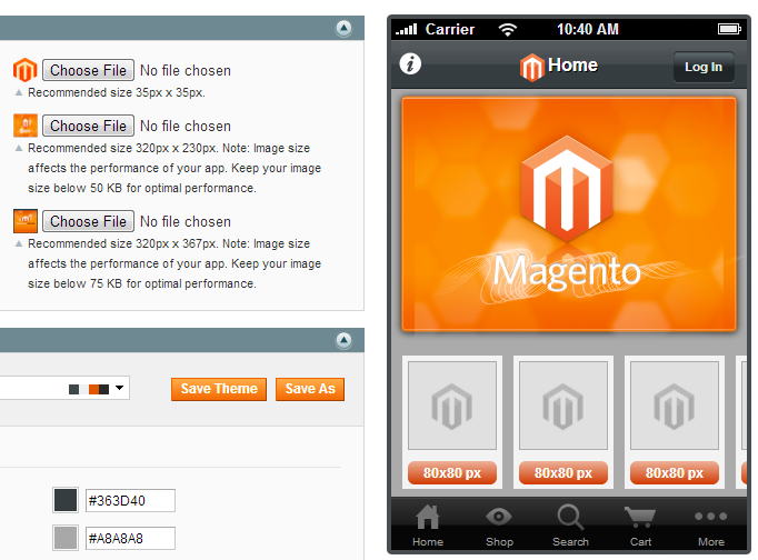 magento mobile theme native app - design
