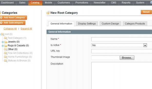 magento create new categories